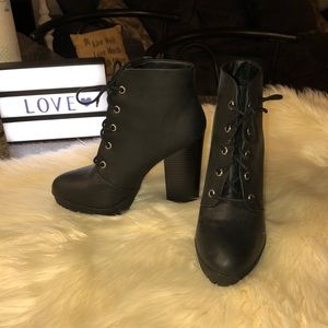 Black Lace Up Ankle Booties!